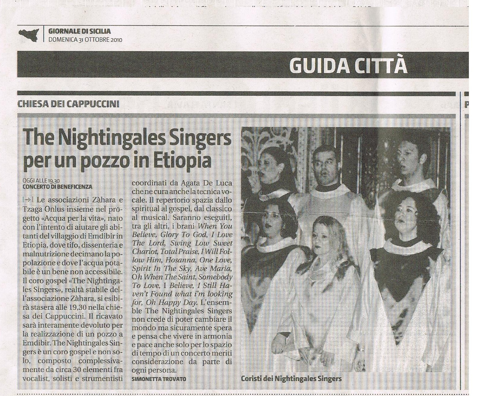The Nightingales Singer per un pozzo in Etiopia